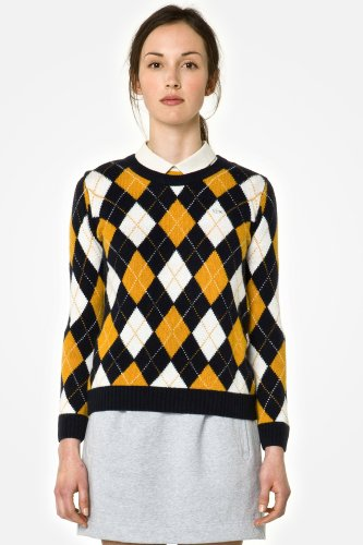 L!Ve Long Sleeve Crewneck Argyle Print Sweater