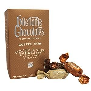 Coffee Trio Truffle Crèmes in Dark & Milk Chocolate - Mocha, Latte & Espresso - 10oz Gift Box - by Dilettante (3 Pack)