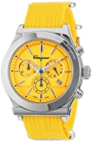 Salvatore Ferragamo Men's FF3030013 1898 Interchangeable Yellow Sky Blue Canvas Strap Chronograph Date Watch by Salvatore Ferragamo