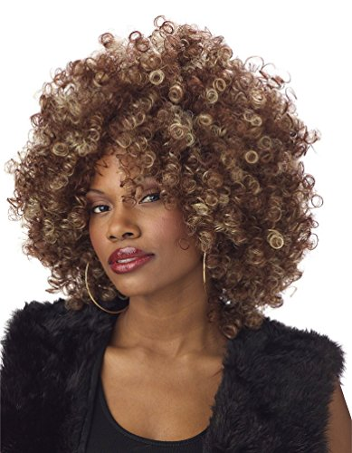 Womens 70s Halloween Costume Foxy Cleopatra Afro Fro Wig
