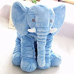 Aohang Elephant Stuffed Plush Pillow Cushion Toy for Infants Children Kids, blue