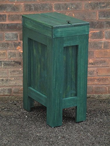 Wooden Wood Trash Bin Kitchen Garbage Can Rectangular 13 Gallon Hunter Green Stain Made From Eastern White Knotty Pine - Handcrafted in USA By Buffalowoodshop (Kitchen Wood Trash Bin compare prices)