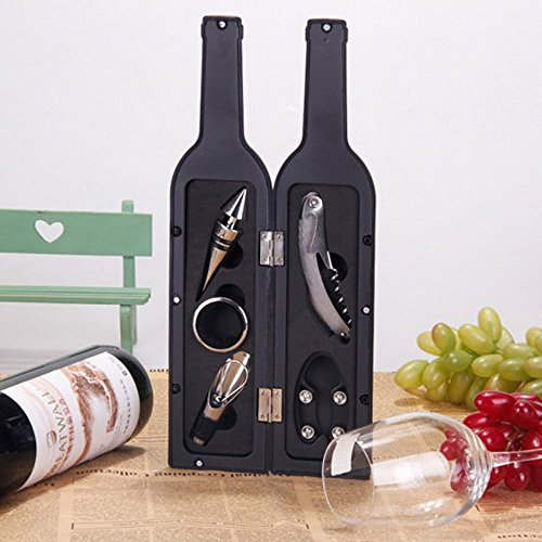 Vina 5 Pcs/set Deluxe Wine Bottle Opener Accessories Gift Set - Wine Bottle Opener, Wine Stopper, Wine Drip Ring, Wine Foil Cutter and Wine Pourer