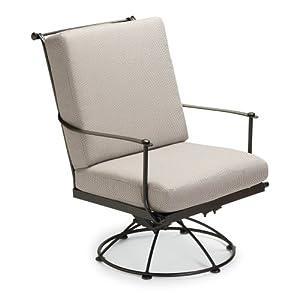 Woodard Woodard Maddox Swivel Lounge Chair, Hammered Pewter/Sunbrella Heather Beige, Wrought Iron, 24W x 23D x 33.5H in.