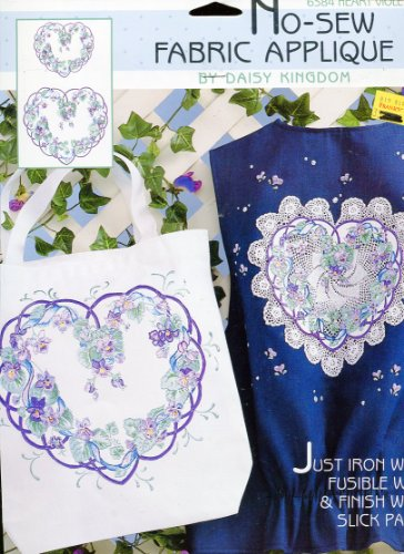 Daisy Kingdom No-Sew Fabric Applique ~ Heart Violets
