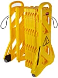 Rubbermaid Commercial Mobile Barricade System Portable Mobile Barrier Indoor Use 16 Panels 4m - Yellow
