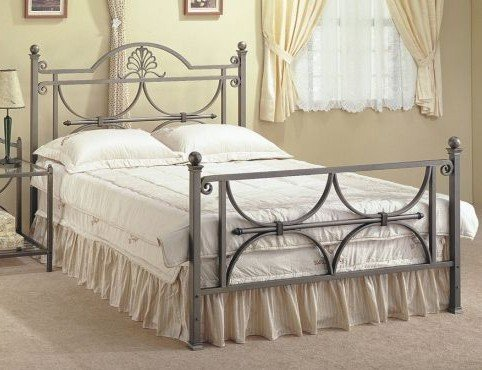 Queen Size Bronze Finish Metal Bed Headboard and Footboard