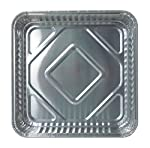 Durable Packaging 1155-35 Disposable Aluminum Square Cake Pan, 8'' x 8'' x  1-5/16'' (Pack of 500)