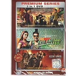 Shootout at Wadala / Khiladi 786 / Agent Vinod  (Hindi Movie / Bollywood Film / Indian Cinema DVD) 3 in 1 Orginal Without Subtittles