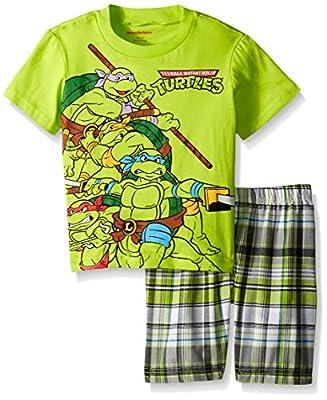 Nickelodeon Boys' Ninja Turtle Plaid Short Set