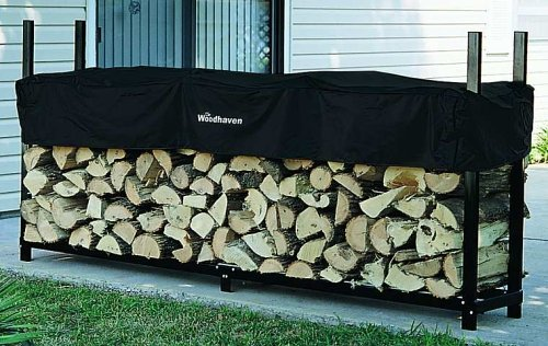 8ft Woodhaven Firewood Rack - Black