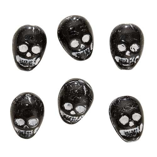 Czech Glass Black Skull Beads Pendants 14.5mm