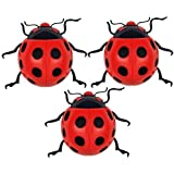 Set of Three Wall Mountable Red Ladybird Garden Ornaments