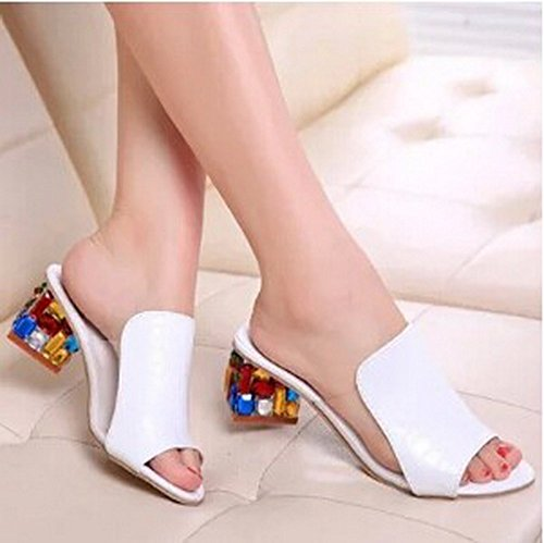 Women Sandals 2015 Sexy Open toe Wedge Slides shoes woman (9, White)