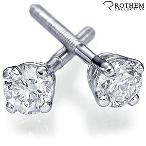 NATURAL 0.25 ct J I1 White Gold Diamond Stud Earrings for Girlfriend New Moms Baby Birth Gift 29743569