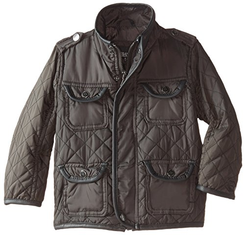Urban Republic Little Boys' Quilted Coat with Faux Leather Trim, Charcoal, 5/6