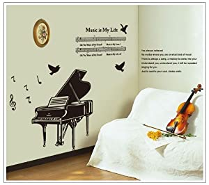 OneHouse Music is My Life Quote Piano Musical Note Music Score Removable Wall Decal Decor Sticker from OneHouse