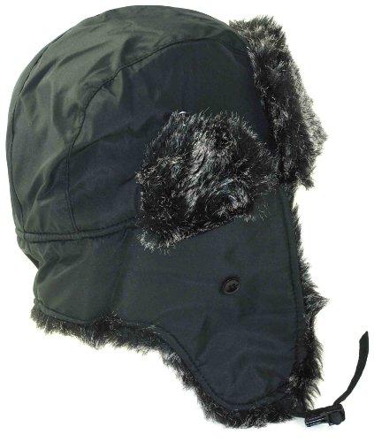 Black Aviator Weatherproof Trapper Faux Fur Hat for Men and Women
