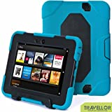"New Hot Item High Quality 2012 Kindle Fire HD 7""Cover Case Slim Fit Silicone Plastic Dual Protective Back Cover Kid Proof Case Standing Case for Amazon Kindle Fire HD 7 Inch(will Only Fit Kindle Fire HD 7""Previous Generation)-multiple Color Options (Blue/Black)"