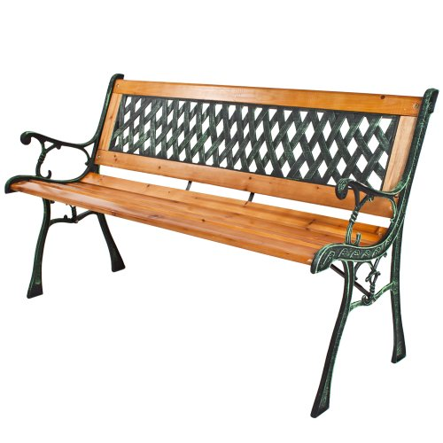 Best Price Tectake 3 Seater Wooden Slat Garden Bench Seat Lattice