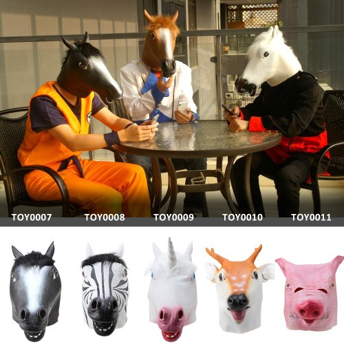 IMAGE Creepy Realistic Animals Latex Rubber Mask Fancy Dress Scary for Harlem Shake Halloween / Home / Birthday Party Decorations - Black Horse, Zebra, White Unicorn, Deear, Pig