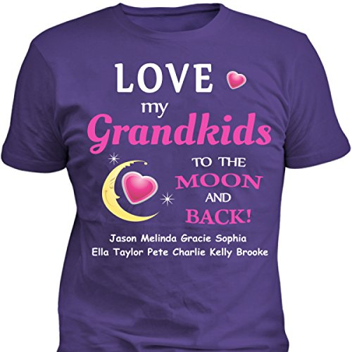 To The Moon and Back Personalized T-Shirt for Grandma Grandmother Grandkids Names Gift Idea for Christmas Birthday (X Large, Purple) (Kids Personalized Tee Shirts compare prices)
