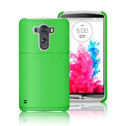 LG G3 Case Cover, Labato® [Stand Feature] Dual Layer [Silicone+Hard Shell] Back Case Cover with Build-in Card Slot, for LG G3 D855(2014 Newest) Brand Package, Multi-Colors Supplied, White+Green Color Lbt-LG3-01P70 (Lg3 Cell Phone Accessories Cases compare prices)