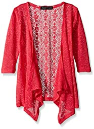 Derek Heart Big Girls\' 3/4 Sleeve Handerchief Cardigan with Lace Back, Coral Icing, Large
