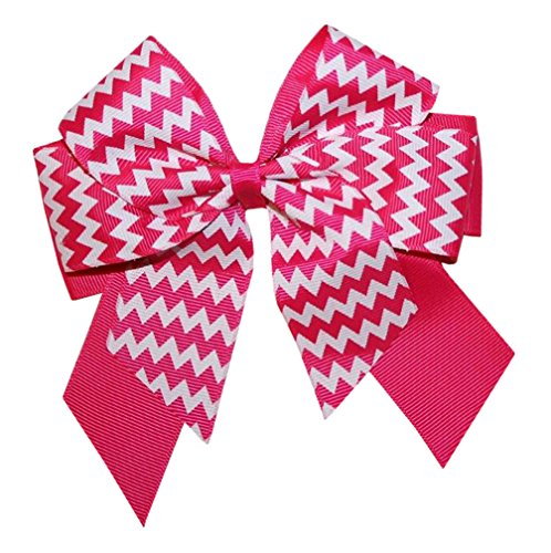 Webb Direct 2U Girls Lg Chevron Grosgrain Hair Bow W/Tail Alligator Fuchsia 8036 front-936742