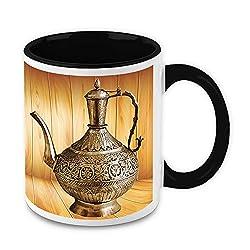 HomeSoGood Antique Metal Kettle White Ceramic Coffee Mug - 325 ml