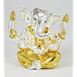 IndiaBuye Gold And Silver Plated Terracotta Ganesh Statue (Size: 9 CM X 6 CM X 5 CM)