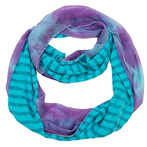 Stripe and Tie-Dye Infinity Scarf (Blue) (Purple Tie Dye Scarves compare prices)