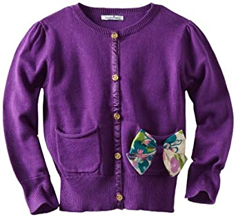 Hartstrings Little Girls' Little Cardigan Sweater With Floral Print Bow, Wine Posey, 4