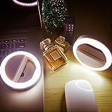 LONGKO 自撮りランプ 自撮りLEDライト 自撮り補助ライト クリップ式(ホワイト)