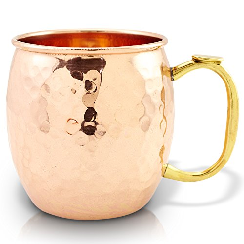 100% Solid Copper Hammered Moscow Mule Mug. 16oz Barware Cups for Cocktails, Mules & Beer. Set of 1.