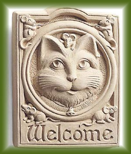 Cast Stone WELCOME KITTEN CAT Wall Plaque MOUSE Garden Feline
