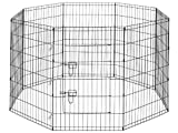 "Premium 8-Panel Black Dog Exercise Play Pen with Door and Carry Bag - 36"" Tall"