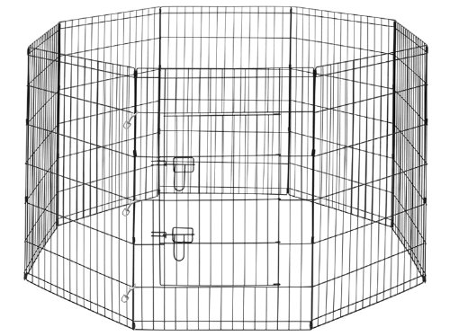 "Premium 8-Panel Black Dog Exercise Play Pen With Door And Carry Bag - 42"" Tall"