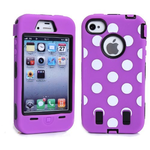 Meaci® Iphone 4 4S Case Hard Soft Polka Dot Combo Hybrid Defender Impact Body Armorbox Hard Case (V)