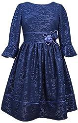 Bonnie Jean Big Girls Navy Lace Bell Sleeve Dress