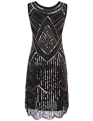 PrettyGuide Women's 1920s Gatsby Sequin Beaded Double Side Flapper Dress XXL Champagne Gold