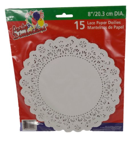 "Set of 15 White Lace Paper 8"" Round Craft Cake Doilies"