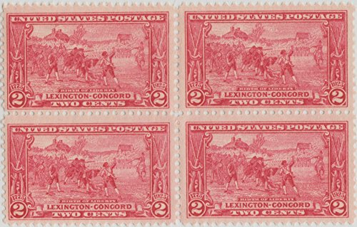 us-stamp-lexington-concord-issue-birth-of-liberty-by-sandham-scott-618-block-4-block