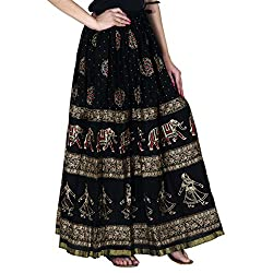 ooltah chashma Gold printed Cotton long Skirt for women ( free Size)