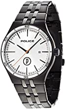 Police Iron Men's Quartz Watch with Silver Dial Analogue Display and Black Stainless Steel Plated Bracelet 14440JSBS/04M