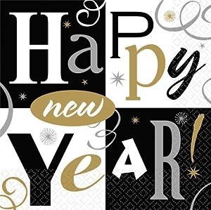 Servietten Neujahr Silvester 2014 Dekoration Happy New