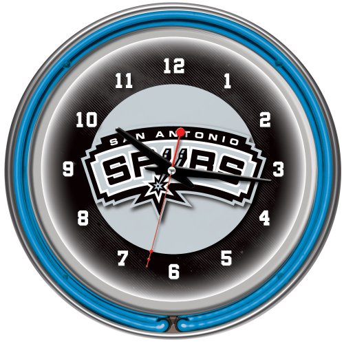 San Antonio Spurs NBA Chrome Double Ring Neon Clock, 14-Inch, Blue