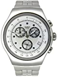 Swatch Men's Irony YOS401G Silver Stainless-Steel Swiss Quartz Watch with Silver Dial