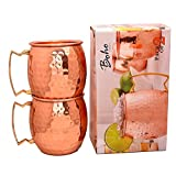 The Boho Street Moscow Mule Handcrafted 100% Pure Copper Mugs Brass Handles Set of 2 Solid Copper Hammered Mugs 16 oz