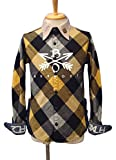 (バーンアウト)BURNOUT Crossed Arrows Check Shirt クロスドアロー チェックシャツ (L, Yellow)